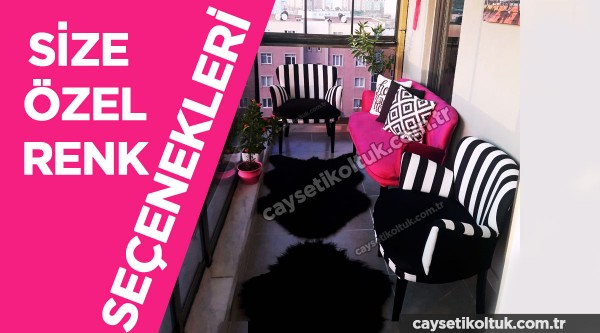 Fuşya zebra chester Balkon Koltuğu