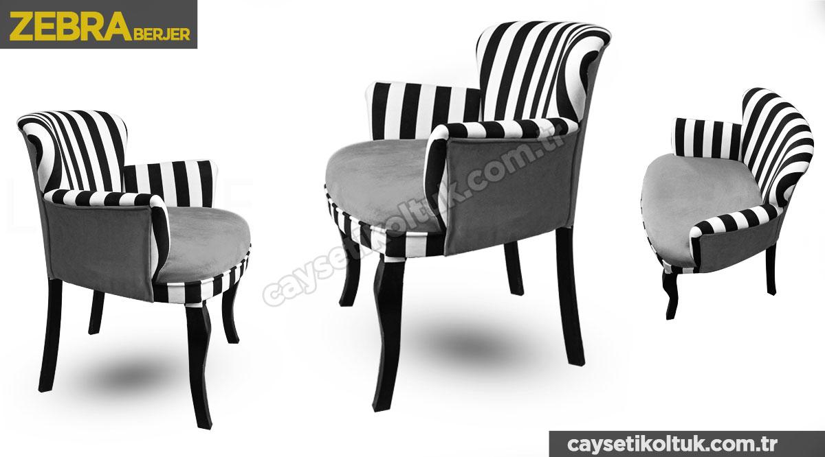 zebra berjer antrasit ( gri )çizgili Berjer - Çay Seti