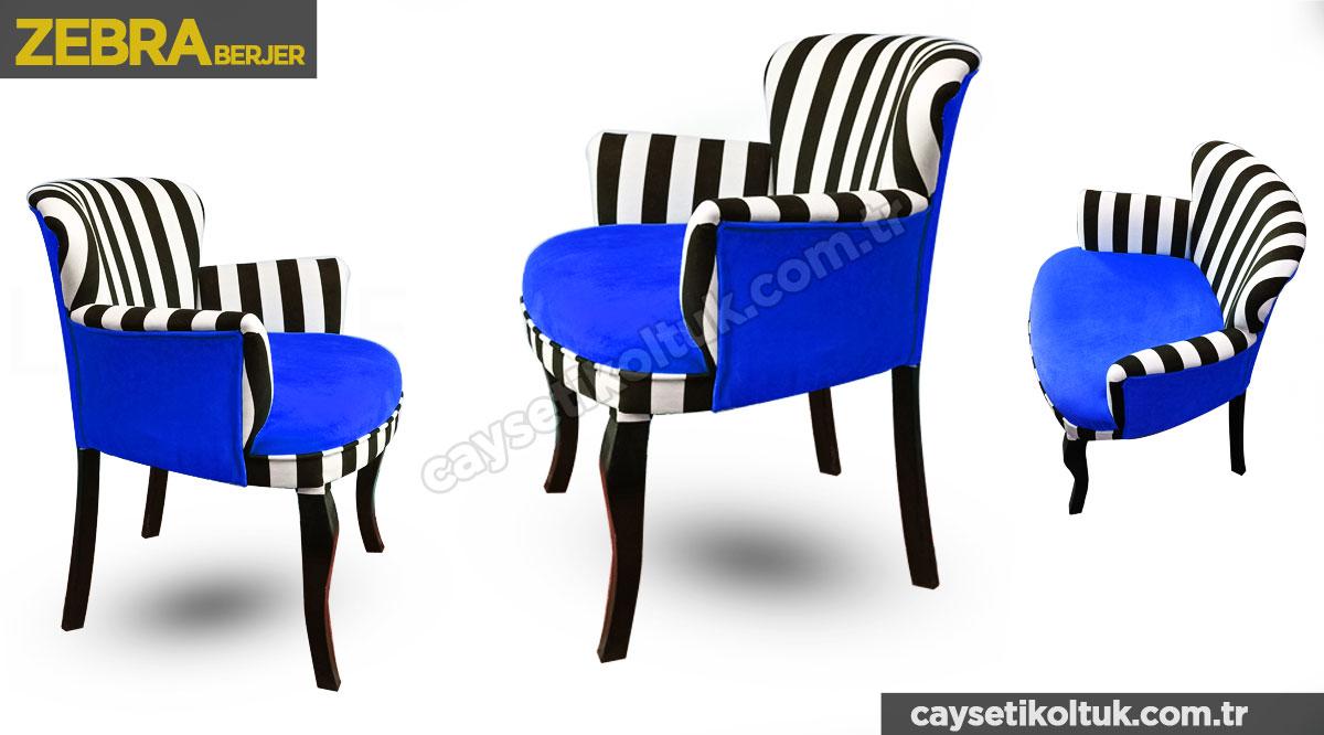 Zebra Mavi Berjer - Çay Seti Berjer Tekli Koltuk
