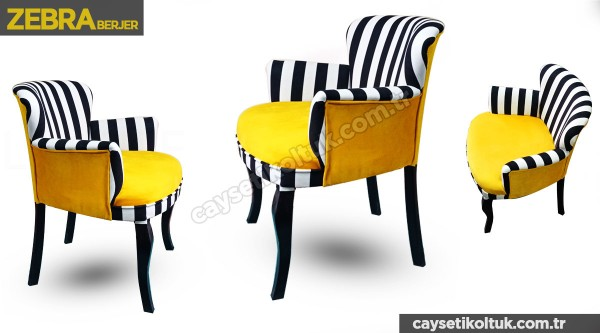 Zebra Sarı Berjer - Çay Seti Berjer Tekli Koltuk