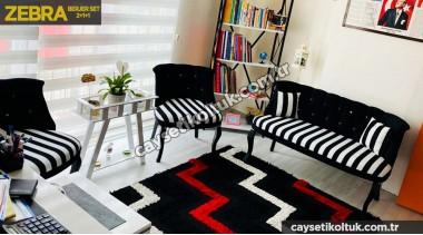 Siyah zebra Bekleme Cafe çay Seti Koltuk Takımı