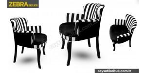 zebra berjer Siyah çizgili Berjer - Çay Seti