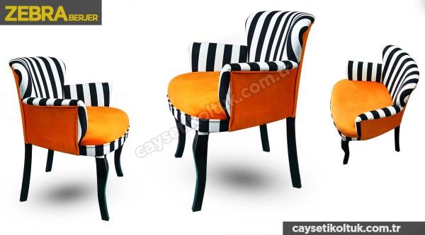 zebra berjer turuncu çizgili Berjer - Çay Seti